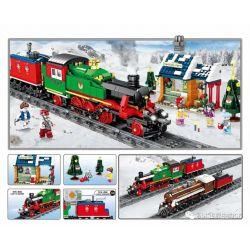 Kazi KY98251 98251 Xếp hình kiểu Lego TRAINS CityTrain City Train Winter Steam Train Tàu Hơi Nước Mùa đông 913 khối