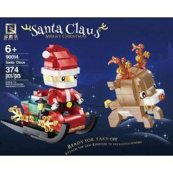 QIZHILE 90014 Xếp hình kiểu Lego SEASONAL Merry Christmas Santa Claus Merry Christmas Santa Sleigh With Reindeer Santa Xe Trượt Tuyết Với Tuần Lộc 374 khối
