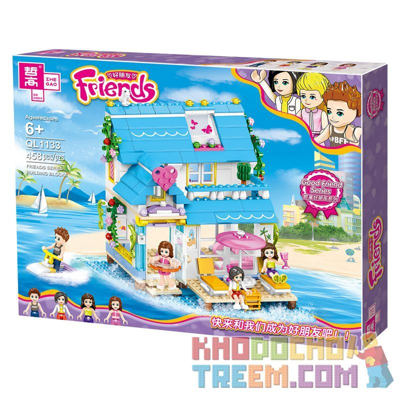 ZHEGAO QL1133 1133 Xếp hình kiểu Lego FRIENDS Good Friend Noah's Colorful Sea View Room Phòng đầy Màu Sắc Nhìn Ra Biển Của Noah 458 khối