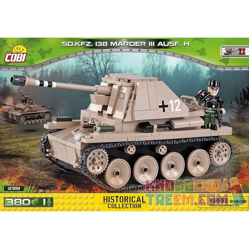 COBI 2381 Xếp hình kiểu Lego MILITARY ARMY Sd.Kfz.138 Marder III Ausf.H Weasel III Self-propelled Anti-tank Gun Pháo Chống Tăng Tự Hành Weasel III 380 khối