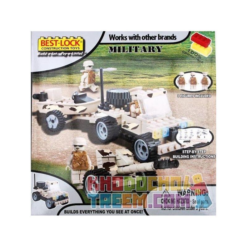 BEST-LOCK 01419 Xếp hình kiểu Lego MILITARY ARMY Jeep With Boat + Artillery Jeep And Ship + Cannon Xe Jeep Và Tàu + Pháo