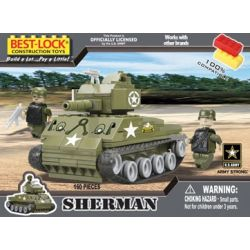 BEST-LOCK 1640 Xếp hình kiểu Lego MILITARY ARMY Sherman Tank Xe Tăng Sherman 160 khối