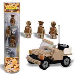 BEST-LOCK 1901 1901 Xếp hình kiểu Lego MILITARY ARMY Military Patrol Car Xe Tuần Tra Quân Sự gồm 2 hộp nhỏ 74 khối