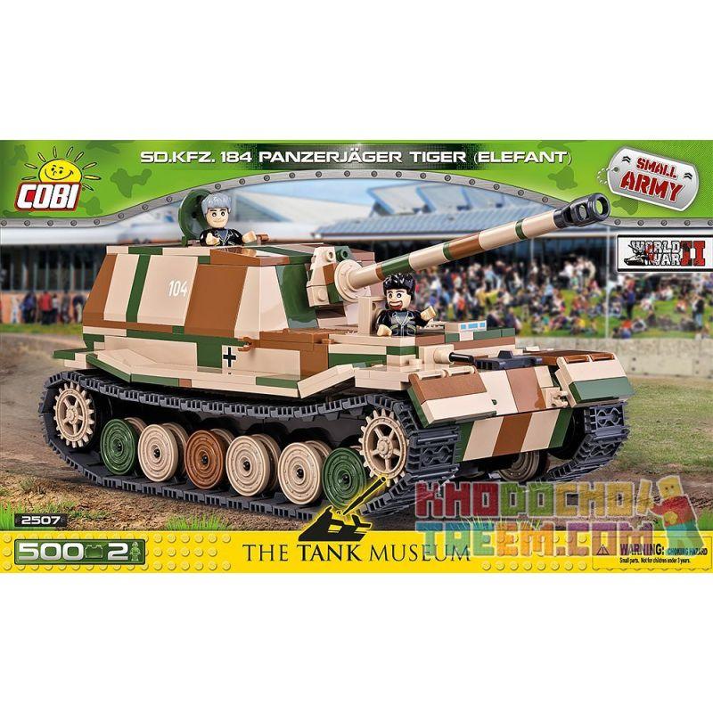 COBI 2507 Xếp hình kiểu Lego MILITARY ARMY Panzerjäger Tiger Elefant Elephant Self-propelled Anti-tank Gun Pháo Chống Tăng Tự Hành Voi 500 khối