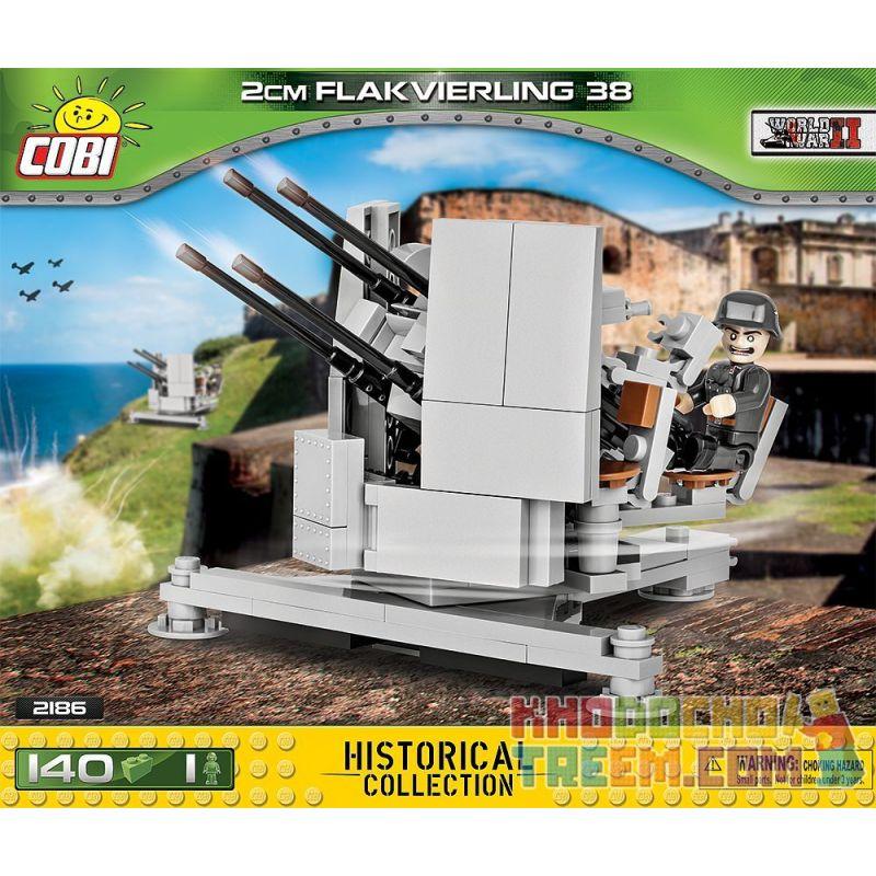 COBI 2186 Xếp hình kiểu Lego MILITARY ARMY Flakvierling 38 20 Mm 20mm Flakvierling38 Anti-aircraft Gun Súng Phòng Không 20mm Flakvierling38 140 khối