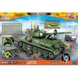 COBI 2486 2486A 2524 Xếp hình kiểu Lego MILITARY ARMY Rudy 102 T-34 85 Rudy 102 T-34 85 gồm 2 hộp nhỏ 530 khối