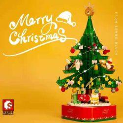 SEMBO 601097 Xếp hình kiểu Lego Rotating Light Carnival Christmas Tree Music Box Hộp Nhạc Cây Thông Noel Xoay Nhẹ Lễ Hội 486 khối