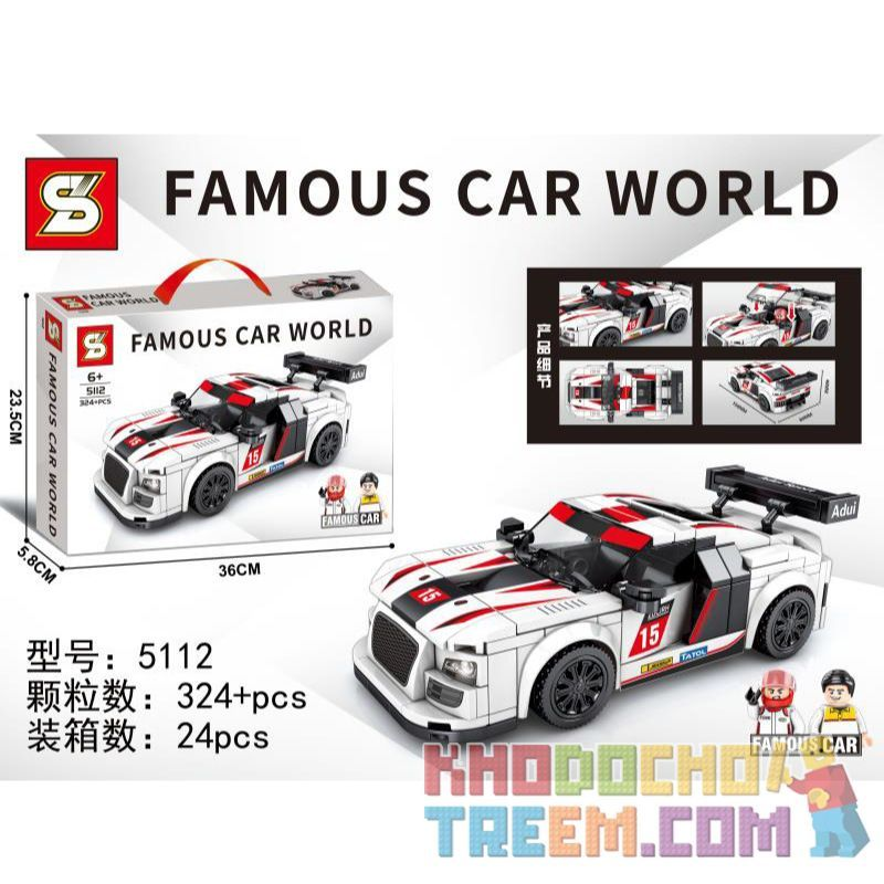 SHENG YUAN SY 5112 Xếp hình kiểu Lego RACERS Famous Car World Luxury Car World Audi 324 khối