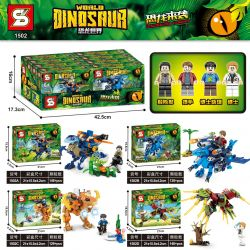 SHENG YUAN SY 1502A 1502B 1502C 1502D Xếp hình kiểu Lego DINO Dinosaurs Coming Dinosaur World Thế Giới Khủng Long gồm 4 hộp nhỏ 561 khối