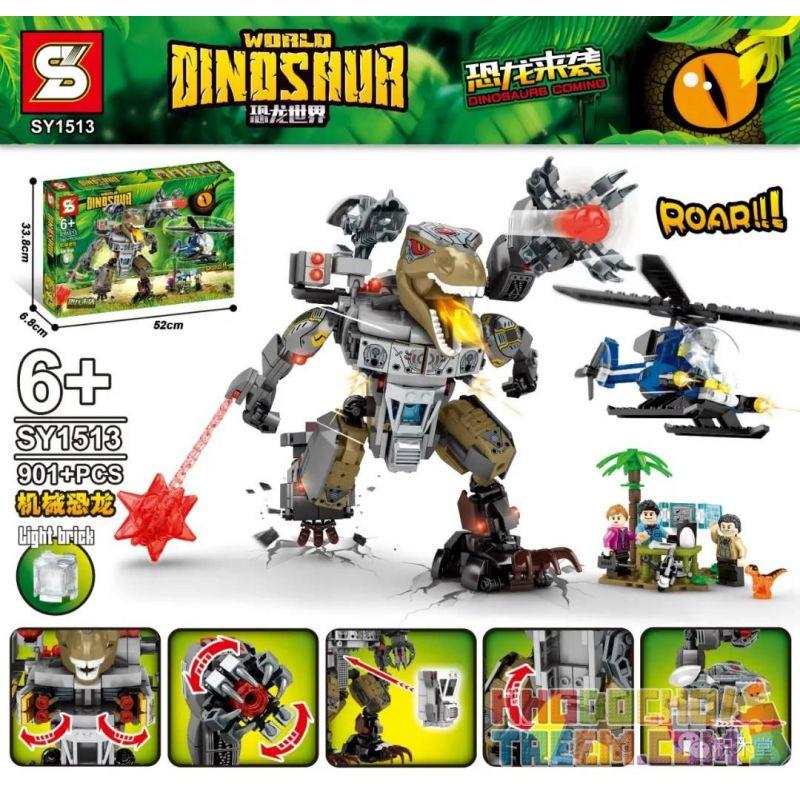 SHENG YUAN SY SY1513 1513 Xếp hình kiểu Lego JURASSIC WORLD Dinosaurs Coming Dinosaur World Mechanical Dinosaur Khủng Long Cơ 901 khối