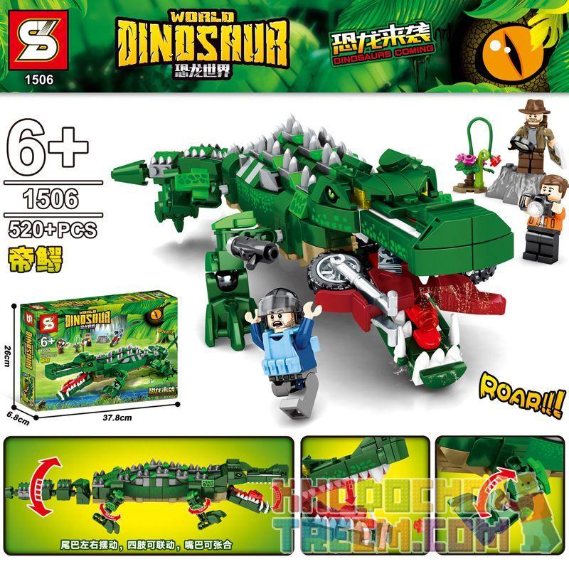 SHENG YUAN SY SY1506 1506 Xếp hình kiểu Lego JURASSIC WORLD Dinosaurs Coming Dinosaur World Emperor Crocodile Cá Sấu Hoàng đế 520 khối