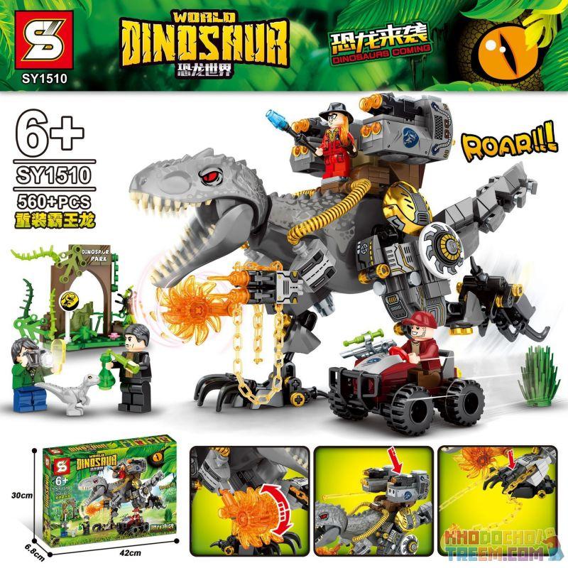 SHENG YUAN SY SY1510 1510 Xếp hình kiểu Lego JURASSIC WORLD Dinosaurs Coming Dinosaur World Tyrannosaurus Rex 560 khối