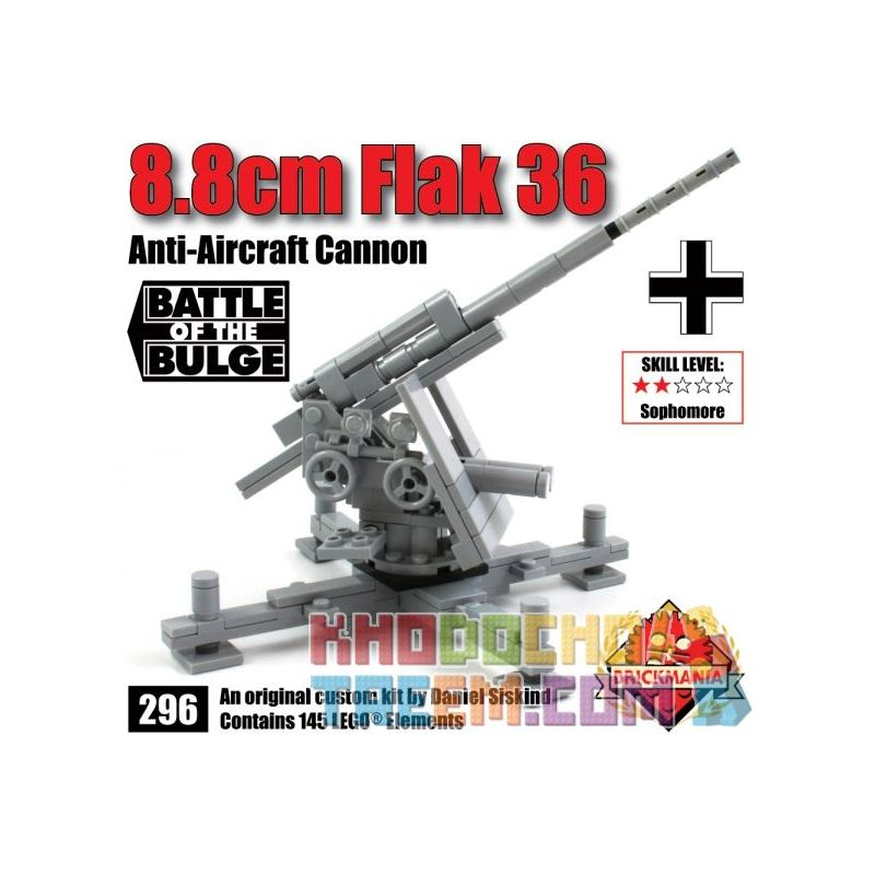 BRICKMANIA 296-BUNDLE BUNDLE 296BUNDLE Xếp hình kiểu Lego MILITARY ARMY Air Defense Bundle Flak 36 + Luftwaffe Figure Air Defense Bundle 36-year Anti-aircraft Gun + German Air Force Minifigure Súng Ph