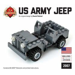 BRICKMANIA 2007 Xếp hình kiểu Lego MILITARY ARMY US Army Jeep U.S. Military Jeep Xe Jeep Quân Sự Hoa Kỳ 67 khối