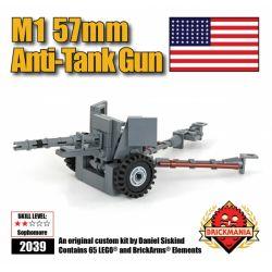 BRICKMANIA 2039 Xếp hình kiểu Lego MILITARY ARMY M1 57mm Anti-tank Gun Súng Chống Tăng M1 57mm 65 khối