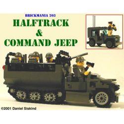 BRICKMANIA 203 Xếp hình kiểu Lego MILITARY ARMY WW2 Halftrack And Command Jeep WWII Half-tracked Vehicle And Command Jeep Xe Bán Tải Trong Thế Chiến II Và Xe Jeep Chỉ Huy 342 khối