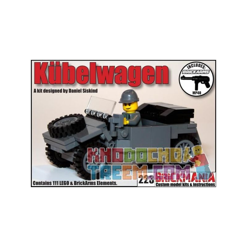 BRICKMANIA 223B Xếp hình kiểu Lego MILITARY ARMY Kübelwagen (Dark Gray) Type 82 Barrel Car (dark Gray) Xe Thùng Loại 82 (xám đen) 111 khối