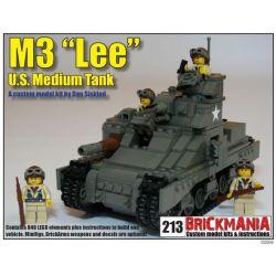 """BRICKMANIA 213 Xếp hình kiểu Lego MILITARY ARMY M3 """"Lee"""" Medium Tank M3 """"Li"""" Medium Tank Tăng Hạng Trung M3 """"Li"""" 840 khối"""
