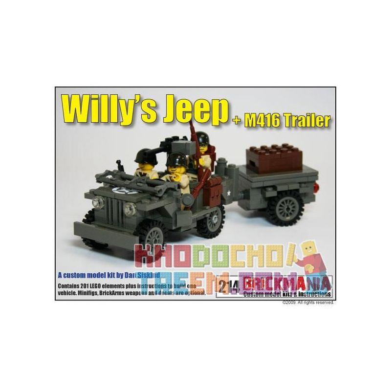 BRICKMANIA 214 Xếp hình kiểu Lego MILITARY ARMY Willys Jeep + M416 Trailer Willis Jeep + M416 Trailer Willis Jeep + Đoạn Giới Thiệu M416 201 khối