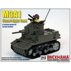 BRICKMANIA 217 Xếp hình kiểu Lego MILITARY ARMY M3A1 Stuart Light Tank Tăng Hạng Nhẹ M3A1 Stuart 381 khối