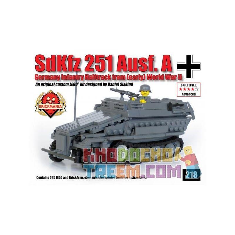 BRICKMANIA 218 Xếp hình kiểu Lego MILITARY ARMY SdKfz 251 Ausf A SdKfz 251 Half-track Vehicle Xe Bán Tải SdKfz 251 395 khối