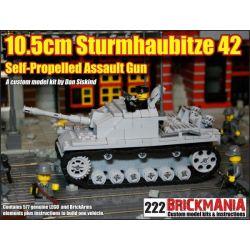 BRICKMANIA 222 Xếp hình kiểu Lego MILITARY ARMY 10.5cm Sturmhaubitze 42 10.5 Cm Assault Howitzer 42 Lựu Pháo Tấn Công 10,5 Cm 42 577 khối