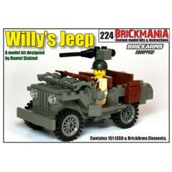BRICKMANIA 224 Xếp hình kiểu Lego MILITARY ARMY Willy's Jeep (V3) Willis Jeep (V3) Jeep Willis (v3) 151 khối