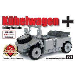 BRICKMANIA 227 Xếp hình kiểu Lego MILITARY ARMY Kübelwagen (V2) Type 82 Barrel Car (V2) Xe Thùng Kiểu 82 (V2) 117 khối