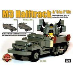 BRICKMANIA 225 Xếp hình kiểu Lego MILITARY ARMY M3 Halftrack M3 Half-track M3 Nửa đường 585 khối