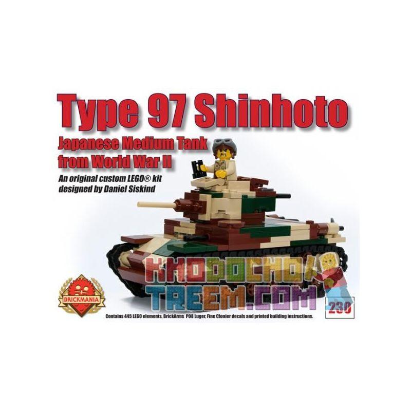 BRICKMANIA 230 Xếp hình kiểu Lego MILITARY ARMY Type 97 Shinhoto Type 97 Medium Tank Tăng Hạng Trung Kiểu 97 445 khối