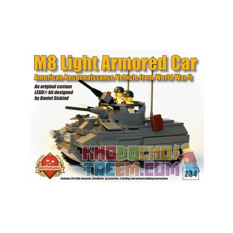 BRICKMANIA 234 Xếp hình kiểu Lego MILITARY ARMY M8 Light Armored Car M8 Armored Car Xe Bọc Thép M8 351 khối