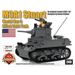 BRICKMANIA 240 Xếp hình kiểu Lego MILITARY ARMY M3A1 Stuart (V2) M3A1 Stuart Light Tank (V2) Xe Tăng Hạng Nhẹ M3A1 Stuart (V2) 431 khối