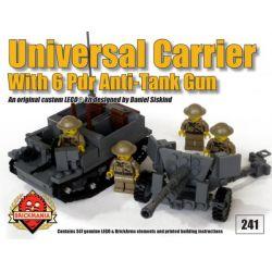 BRICKMANIA 241 Xếp hình kiểu Lego MILITARY ARMY Universal Carrier With 6 Pounder Universal Vehicle And 6-pounder Anti-tank Gun Xe Phổ Thông Và Súng Chống Tăng 6 Pounder 347 khối