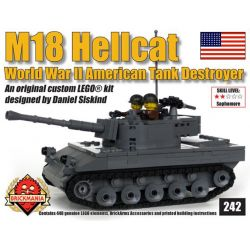 BRICKMANIA 242 Xếp hình kiểu Lego MILITARY ARMY M18 Hellcat 448 khối