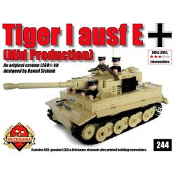 BRICKMANIA 244 Xếp hình kiểu Lego MILITARY ARMY Tiger I Ausf E (Tan) Tiger I Tank (tan) Xe Tăng Tiger I (tan) 949 khối