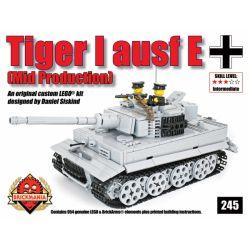 BRICKMANIA 245 Xếp hình kiểu Lego MILITARY ARMY Tiger I Ausf E (Gray) Tiger I Tank (gray) Xe Tăng Tiger I (xám) 954 khối