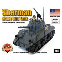 BRICKMANIA 250 Xếp hình kiểu Lego MILITARY ARMY M4A4 Sherman Gun Tank M4A4 Sherman Tank Xe Tăng M4A4 Sherman 770 khối