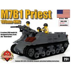 BRICKMANIA 251 Xếp hình kiểu Lego MILITARY ARMY M7B1 Priest 105mm HMC M7B1 Priest Self-propelled Artillery Pháo Tự Hành M7B1 Priest 904 khối
