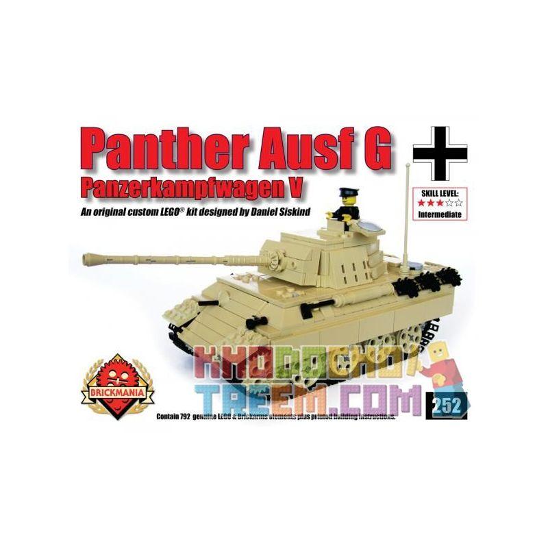 BRICKMANIA 252 Xếp hình kiểu Lego MILITARY ARMY PzKfw V Ausf G Panther (Tan) Leopard Tank G Type (yellow Brown) Leopard Tank Loại G (vàng Nâu) 793 khối