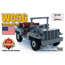 BRICKMANIA 253 Xếp hình kiểu Lego MILITARY ARMY WC56 Command Car WC56 Command Vehicle Xe Chỉ Huy WC56 152 khối