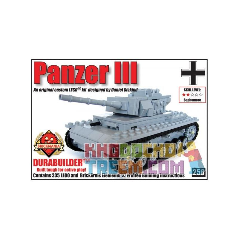 BRICKMANIA 256 Xếp hình kiểu Lego MILITARY ARMY Panzer III – Durabuilder Edition Tank Three-Durabuilder Edition Phiên Bản Tank Three-Durabuilder 335 khối