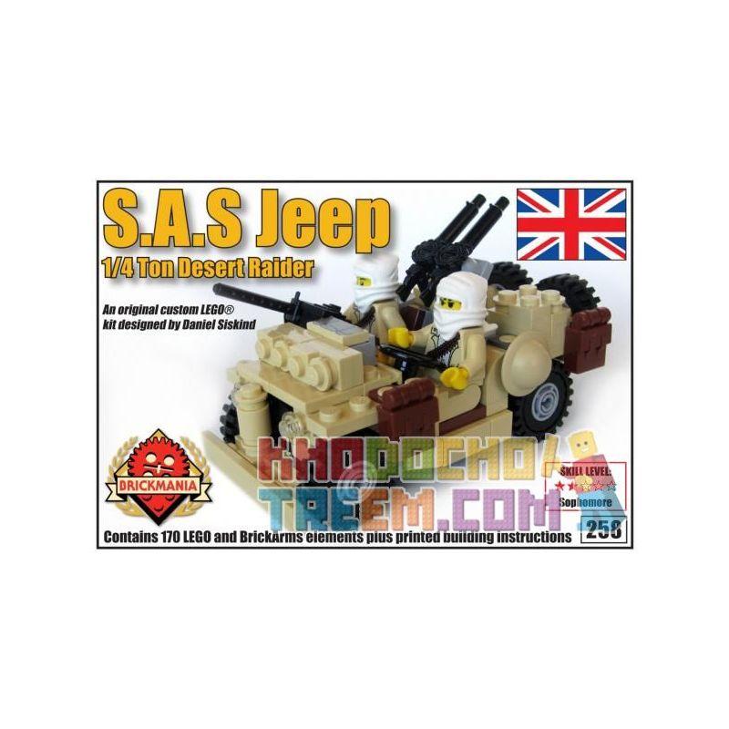 BRICKMANIA 258 Xếp hình kiểu Lego MILITARY ARMY S.A.S. Jeep – 1 4 Ton Desert Raider Xe Jeep Của S.A.S. 170 khối