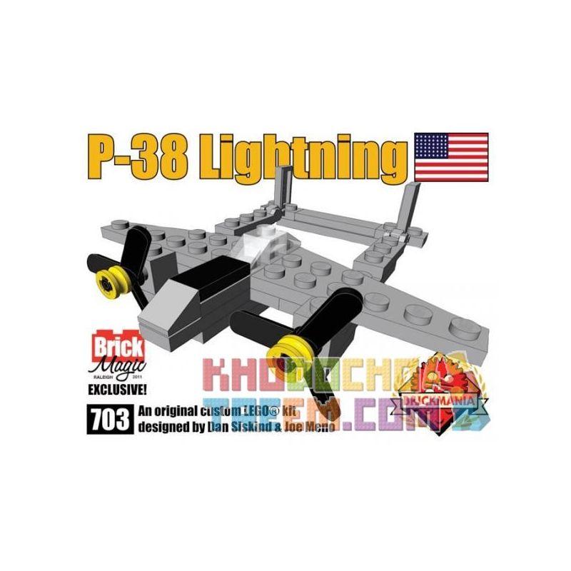 BRICKMANIA 703 Xếp hình kiểu Lego MILITARY ARMY P-38 Lightning Fighter Máy Bay Chiến đấu Tia Chớp P-38
