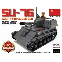 BRICKMANIA 262 Xếp hình kiểu Lego MILITARY ARMY SU-76 Self Propelled Gun SU-76 Self-propelled Artillery Pháo Tự Hành SU-76 464 khối