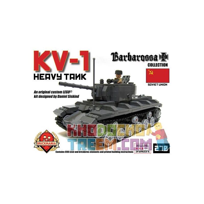 BRICKMANIA 270 Xếp hình kiểu Lego MILITARY ARMY KV-1 Heavy Tank Xe Tăng Hạng Nặng KV-1 698 khối