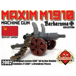 BRICKMANIA 2002 Xếp hình kiểu Lego MILITARY ARMY Maxim M1910 Machine Gun Maxim 1910 Heavy Machine Gun Súng Máy Hạng Nặng Maxim 1910 27 khối