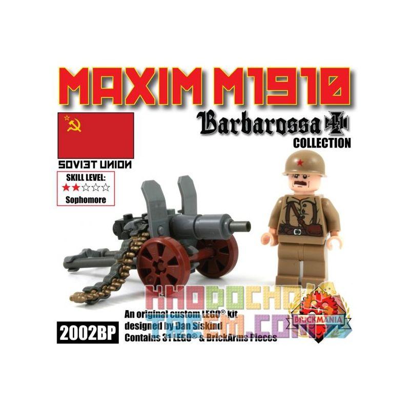 BRICKMANIA 2002BP Xếp hình kiểu Lego MILITARY ARMY Maxim M1910 Machine Gun Mark's 1911 Heavy Machine Gun Súng Máy Hạng Nặng Maxim 1911 31 khối