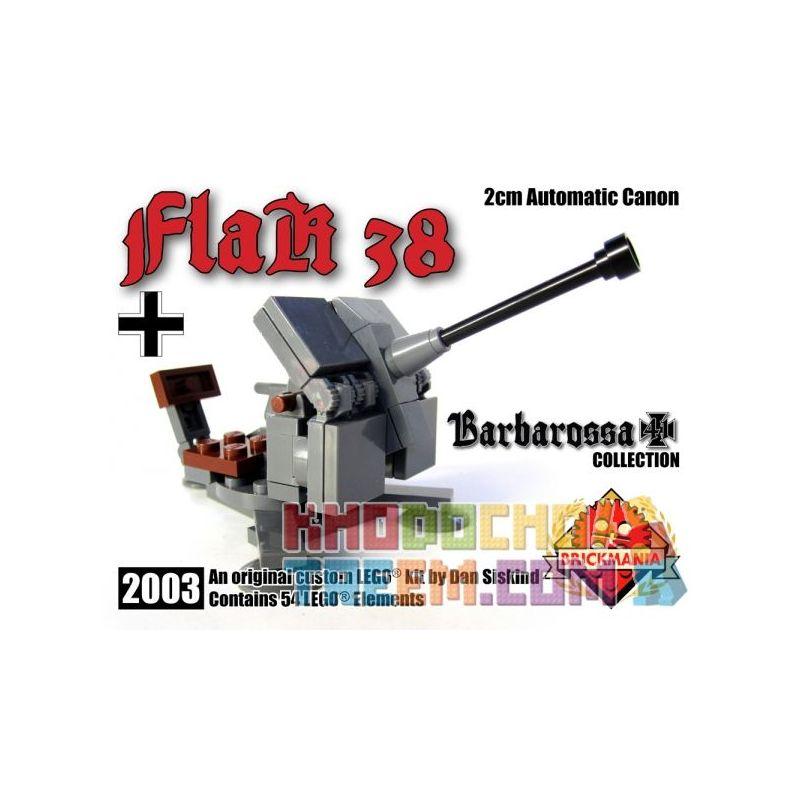 BRICKMANIA 2003 Xếp hình kiểu Lego MILITARY ARMY FlaK 38 2cm Automatic Cannon Type 38 2cm Cannon Loại 38 Khẩu Pháo 2cm 54 khối