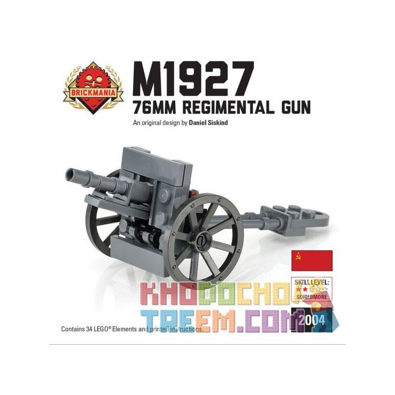 BRICKMANIA 2004 Xếp hình kiểu Lego MILITARY ARMY M1927 76mm Regimental Gun M1927 Type 76mm Infantry Gun Súng Bộ Binh M1927 Loại 76mm 34 khối