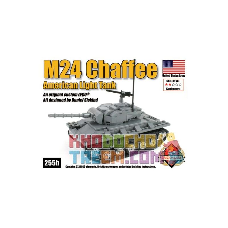 BRICKMANIA 255B Xếp hình kiểu Lego MILITARY ARMY M24 Chaffee American Light Tank M24 Xiafei Light Tank Tăng Hạng Nhẹ M24 Xiafei 372 khối